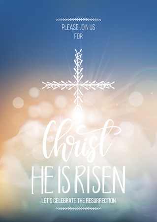 Christ He is risen, vector Easter religious poster template with transparency and gradient mesh. Church invitation flyer, vector illustration. Illustration