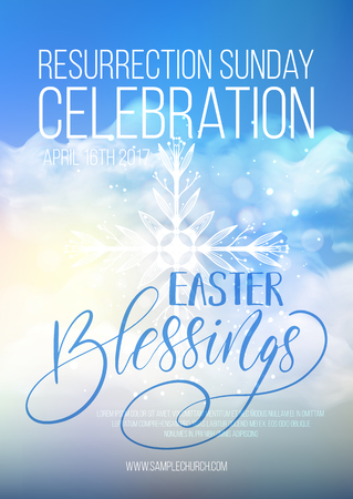Easter Blessings, vector Modello di manifesto religioso di Pasqua con trasparenza e maglia gradiente. Vettoriali