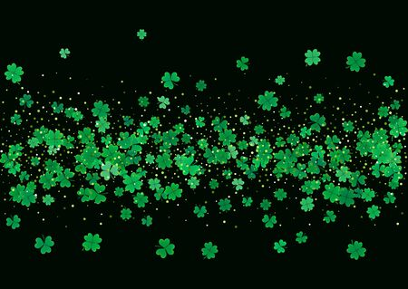celtic background: St. Patricks Day blank background template with falling clover leaves isolated on a black background. Vector illustration.