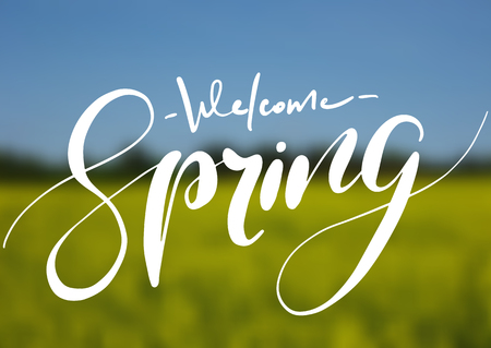 Welcome spring handwriting lettering design on blurry blossom field landscape. Vector illustration. Illustration