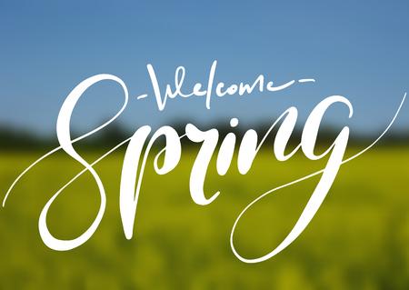 Welcome spring handwriting lettering design on blurry blossom field landscape. Vector illustration.