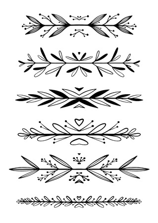 dingbats: Hand drawn floral borders, dingbats, dividers for the page decoration. Isolated on the white background. Illustration