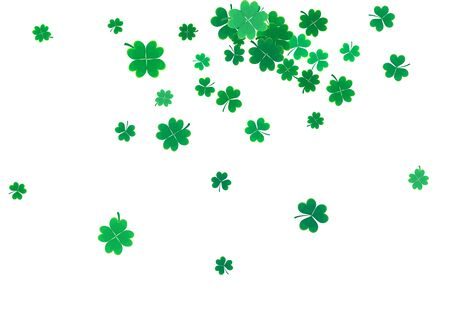 patrick's: St. Patricks Day background template with falling clover leaves isolated on a white background. Vector illustration.