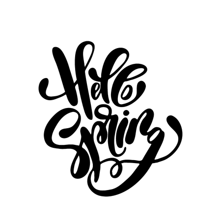Hello Spring handwriting lettering design for banner, poster, photo overlay, apparel design.
