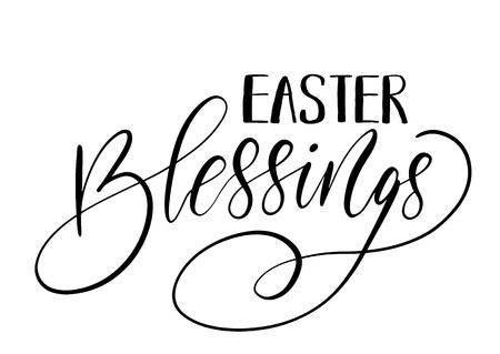 Easter holiday celebration. Easter Blessings handwriting lettering design for banner, poster, photo overlay, apparel design.