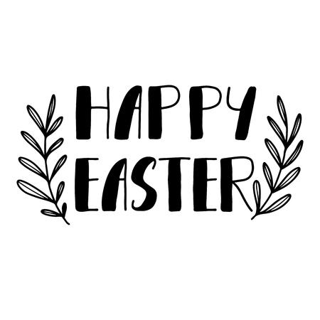 eroded: Easter holiday celebration. Happy Easter handwriting lettering design for banner, poster, photo overlay, apparel design.