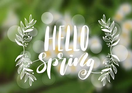 springtime background: Hello spring hand drawn lettering design. Isolated on a blurry background, typography for banner, poster, photo overlay or apparel design.