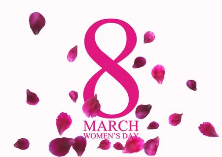 8 maart Internationale Vrouwendag-wenskaart met vliegende roze bloemblaadjes. Vector illustratie. Stock Illustratie
