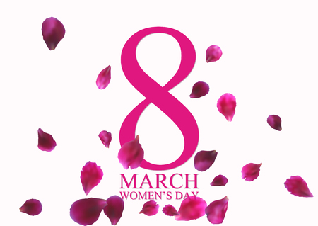 8 March International Womens Day greeting card with flying pink petals. Vector illustration.
