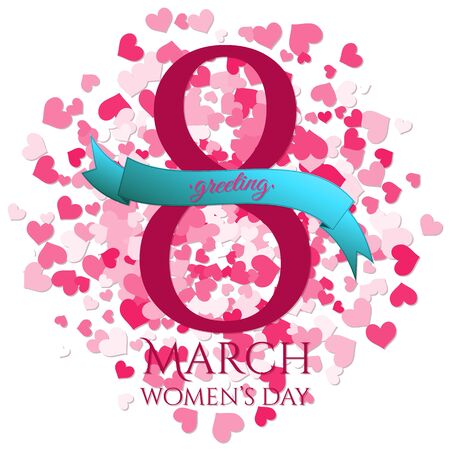girlish: 8 March International Womens Day greeting card with hearts explosion, ribbon. Illustration