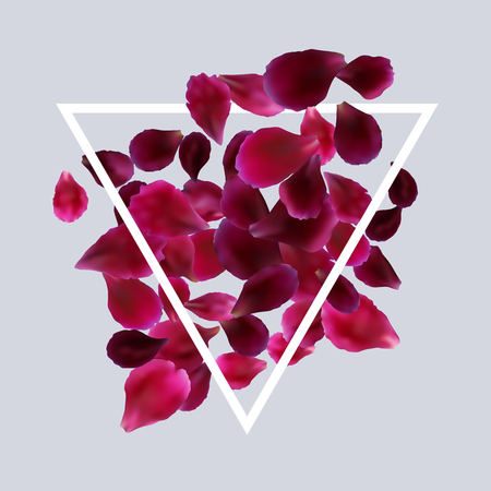 Romantic background with red, pink rose petals. Vector design for greeting card, poster template, flyer, home decor. Illustration