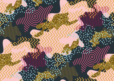 迷彩ピンク、ゴールドの輝き、青、黒い色の色合いでシームレスなパターン。