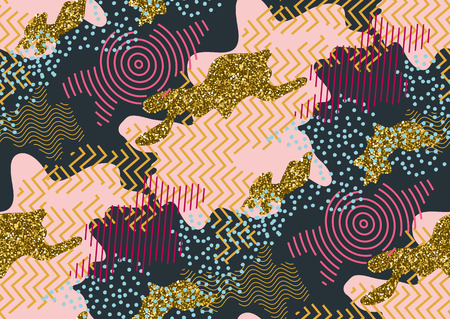 Camouflage seamless pattern in a shades of pink, gold glitter, blue , black colors. Illustration
