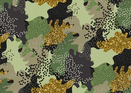 Camuflaje patrón transparente en un tonos de verde, brillo de oro, marrón, colores beige.