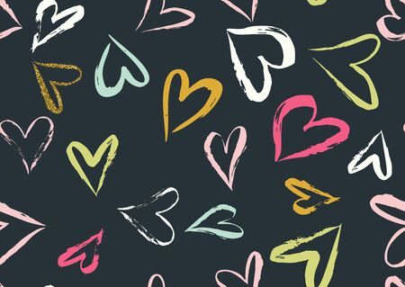 pattern: Pattern with hand drawn dry brushed hearts. Black, golden, blue, green, white colors.