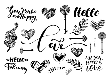 Valentine Day, wedding hand drawn lettering, outline romantic doodles collection. Vector illustrations isolated on a white background. Illustration