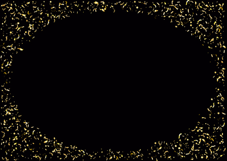 Abstract background with flying subtle golden gradient confetti. Vector illustration isolated on black background. Blank holiday template.
