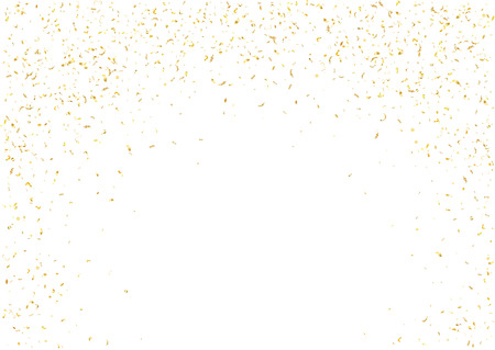 glittery: Abstract background with flying subtle golden gradient confetti. Vector illustration isolated on white background. Blank holiday template. Illustration