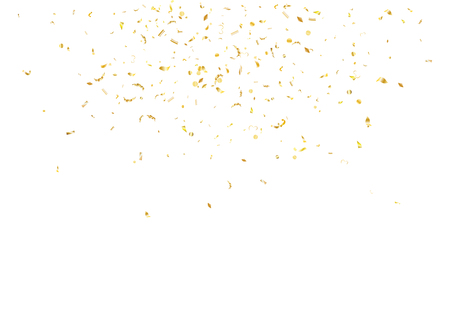 Abstract background with flying subtle golden gradient confetti. Vector illustration isolated on white background. Blank holiday template. Ilustração