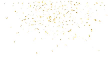 Abstracte achtergrond met vliegende subtiele gouden gradiëntconfettien. Vectorillustratie geïsoleerd op witte achtergrond Lege vakantie sjabloon. Stock Illustratie