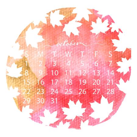 calendario octubre: Calendario 2017 de la textura de la acuarela. Octubre caligrafía manuscrita. Ilustración vectorial con hojas de arce volando siluetas. Vectores