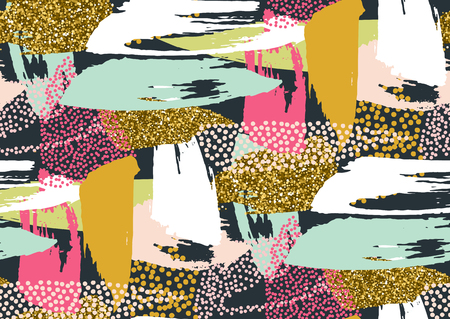 Vector seamless pattern with hand drawn gold glitter textured brush strokes and stripes hand painted. Black, gold, white, pink, green, blue colors.
