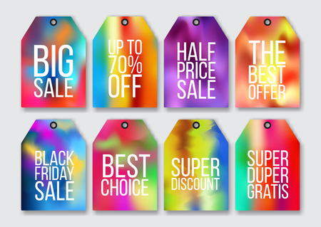 defocussed: Abstract colorful holographic effect sale tags set. Mesh. Vector illustration