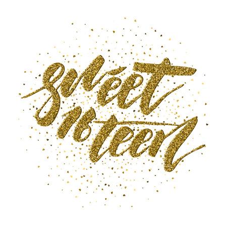 Sweet Sixteen - lettrage pour affiches, flyers, t-shirts, cartes, invitations, autocollants, banderoles. Calligraphie moderne de stylo pinceau isolé sur fond blanc peint à la main.