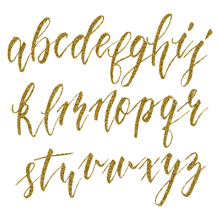 Hand drawn english calligraphic alphabet with gold glitter texture. Each letter isolated on a white background. Vector illustration. Çizim