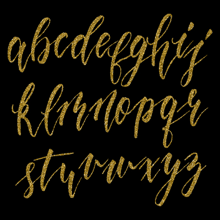 dramatic characters: Hand drawn english calligraphic alphabet with gold glitter texture. Each letter isolated on black background. Vector illustration.