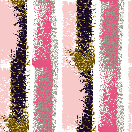 Vector seamless pattern with hand drawn gold glitter textured brush strokes and stripes hand painted. Black, gold, pink, white colors.