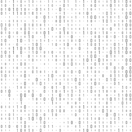 cryptogram: Binary code black and white background with two binary digits, 0 and 1 isolated on a white background. Halftone vector illustration.
