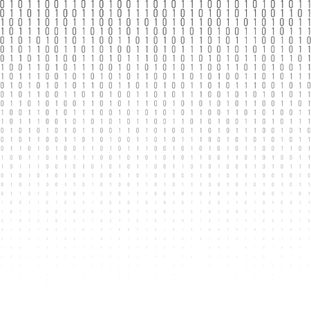 encoding: Binary code black and white background with two binary digits, 0 and 1 isolated on a white background. Halftone vector illustration.