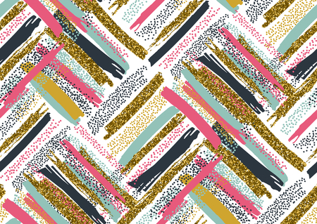 Vector seamless pattern with hand drawn gold glitter textured brush strokes and stripes hand painted. Black, gold, pink, green, brown colors. Illusztráció