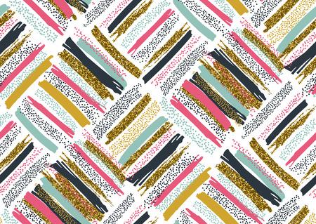 Het vector naadloze patroon met hand getrokken goud schittert geweven van borstelslagen en strepen geschilderde hand. Zwart, goud, roze, groen, bruine kleuren.