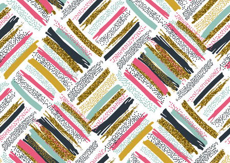 Vector seamless pattern with hand drawn gold glitter textured brush strokes and stripes hand painted. Black, gold, pink, green, brown colors. Ilustrace