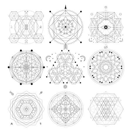 Mystical geometry symbols set. Linear alchemy, occult, philosophical sign. For music album cover, poster, flyer design. Astrology, imagination creativity superstition religion concept Ilustrace