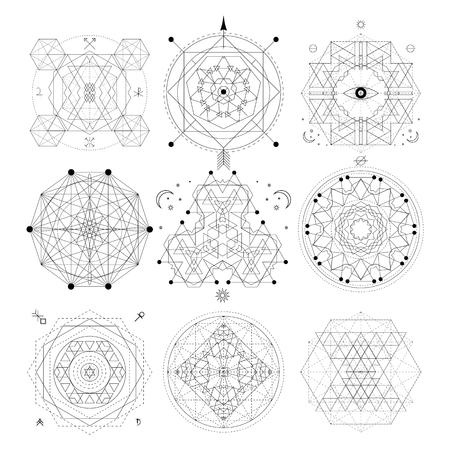 Mystical geometry symbols set. Linear alchemy, occult, philosophical sign. For music album cover, poster, flyer design. Astrology, imagination creativity superstition religion concept Illusztráció