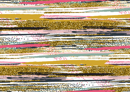 Vector seamless pattern with hand drawn gold glitter textured brush strokes and stripes hand painted. Black, gold, pink, green, brown colors. Illustration