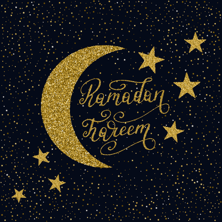 Hand drawn Ramadan Kareem lettering with gold glitter texture. Vector holiday illustration isolated on the starry night background.