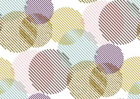 Vector seamless Pattern with gold glitter textured circles and stripes. White, gold, pink, green, violet colors.