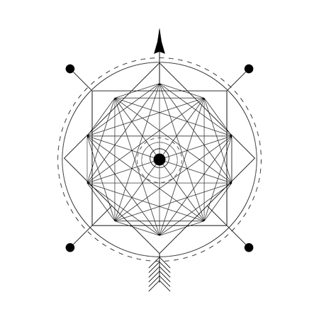 mystical geometry symbol. Linear alchemy, philosophical sign. For the music album cover, poster, flyer, sacramental logo design. Astrology, imagination, creativity superstition and religion concept