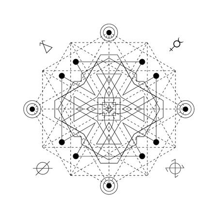Mystical geometry symbol. Linear alchemy, occult, philosophical sign. For music album cover, poster, flyer, sacramental logo design. Illustration