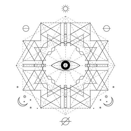 Mystical geometry symbol. Linear alchemy, occult, philosophical sign. For music album cover, poster, flyer, sacramental logo design. Astrology, imagination creativity superstition religion concept