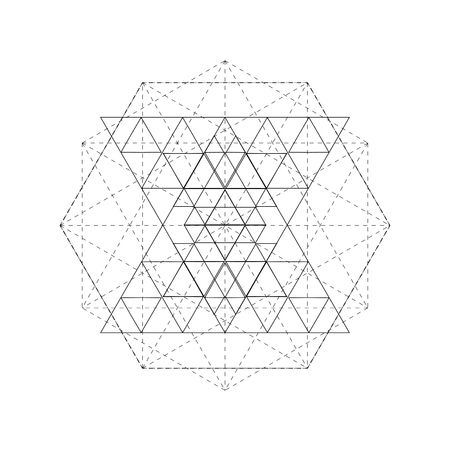Mystical geometry symbol. Linear alchemy, occult, philosophical sign. For music album cover, poster, flyer, sacramental logo design. Astrology, imagination creativity superstition religion concept Logó