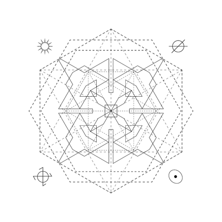 freemasonry: Mystical geometry symbol. Linear alchemy, occult, philosophical sign. For music album cover, poster, flyer, sacramental logo design. Astrology, imagination creativity superstition religion concept