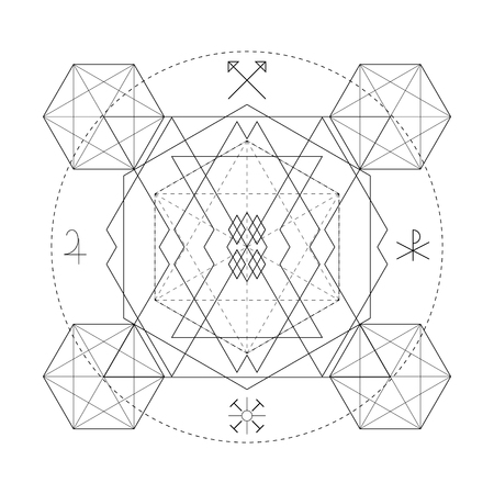 Mystical geometry symbol. Linear alchemy, occult, philosophical sign. Illustration
