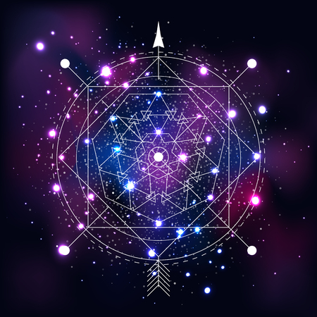 Mystical geometry symbol on space background. Linear alchemy, occult, philosophical sign. For music album cover, poster, flyer, logo design. Astrology, imagination creativity religion concept Illustration