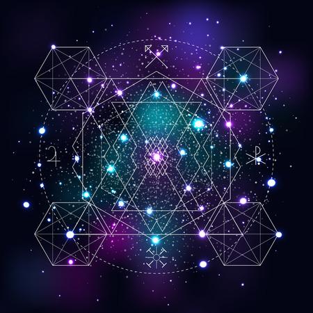 pentagramma musicale: Simbolo geometrico mistico sullo sfondo dello spazio. Alchimia lineare, segno occulto, filosofico. Per copertina di album musicali, poster, volantini, logo design. Astrologia, creatività immaginazione concetto di religione
