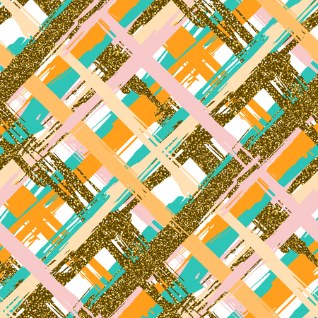 Vector seamless pattern with hand drawn gold glitter textured crossed brush strokes and stripes hand painted. White, gold, pink, green, orange colors. Summer autumn fashion collection.